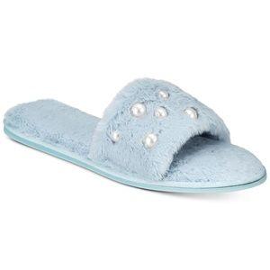 I.N.C. Pearl Embellished Faux Fur Slide Slippers